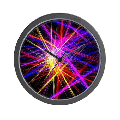 Futuristic Purple Lines Geometric Abstr Wall Clock By