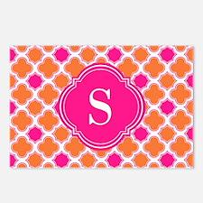 Quatrefoil Pattern Orange Hot Pink with Monogram P