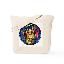 blue_round_tiffany_angel_white Tote Bag