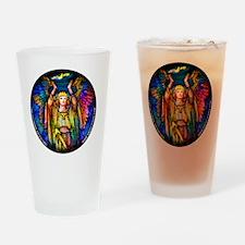 blue_round_tiffany_angel_white Drinking Glass