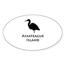 Assateague Island Heron Oval Decal