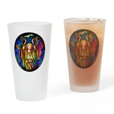 blue_round_tiffany_angel_white Drinking Glass