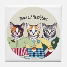 3 little kittens B - xmas ornament Tile Coaster