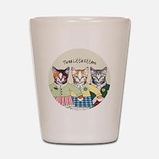 3 little kittens B - xmas ornament Shot Glass
