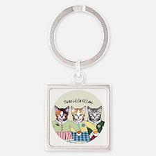 3 little kittens B - xmas ornament Square Keychain