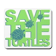 Save the Turtles Green Slogan Mousepad