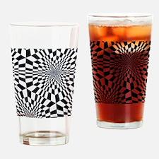 Retro 60s Black White Psychedelic I Drinking Glass