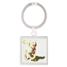 fetch-poodle Square Keychain