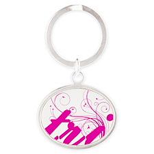tri_pink Oval Keychain
