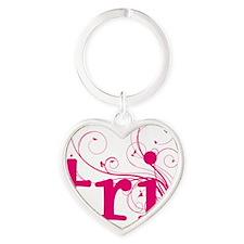 tri_swirl_pink Heart Keychain