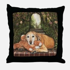 YellowLablayingdown Throw Pillow
