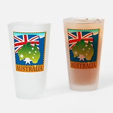 AustraliaFlagTShirt1 Drinking Glass