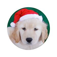 """Golden Retriever Christmas Keepsake Bo 3.5"""" Button"""
