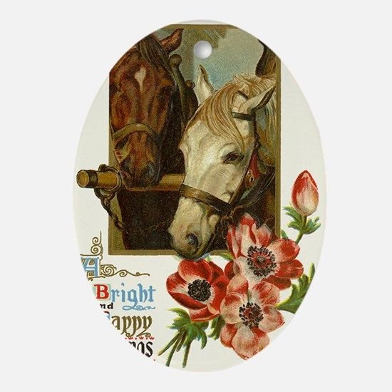 note card_horse Oval Ornament