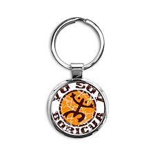 Yo Soy Boricua Brown-Orange Round Keychain