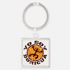 Yo Soy Boricua Brown-Orange Square Keychain