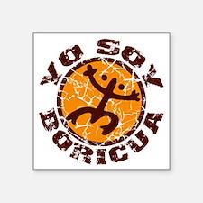 """Yo Soy Boricua Brown-Orange Square Sticker 3"""" x 3"""""""