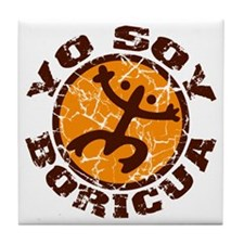 Yo Soy Boricua Brown-Orange Tile Coaster