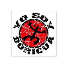 "Yo Soy Boricua Black-Red Square Sticker 3"" x 3"""