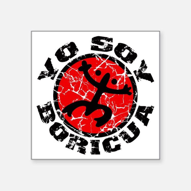 """Yo Soy Boricua Black-Red Square Sticker 3"""" x 3"""""""