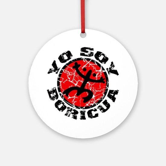 Yo Soy Boricua Black-Red Round Ornament