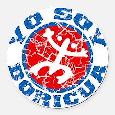 Yo Soy Boricua Blue-Red Round Car Magnet