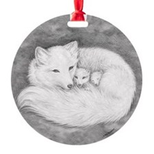 Round Fox Family Ornament