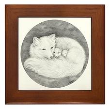 Round Fox Family Framed Tile