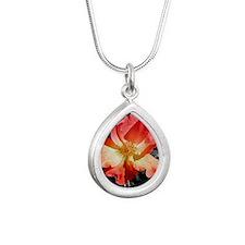 rose Silver Teardrop Necklace