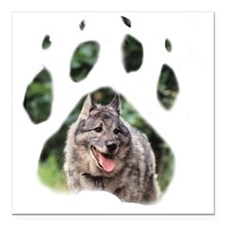 "Wolfiepaw large Square Car Magnet 3"" x 3"""