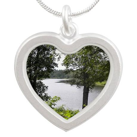 tahquamenon river Silver Heart Necklace