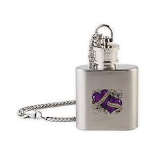 Epilepsy Hope Faith Dual Hearts Flask Necklace