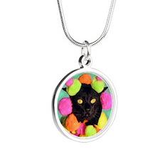 Aug/lickycat2/PomPom Silver Round Necklace