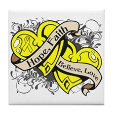 Endometriosis Hope Hearts Tile Coaster