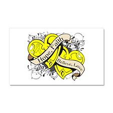 Endometriosis Hope Hearts Car Magnet 20 x 12