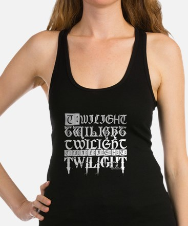 twilight sampler white text Racerback Tank Top