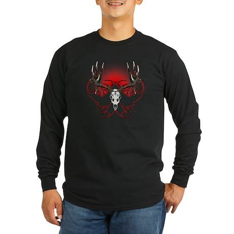 Mule deer,skull flames Long Sleeve Dark T-Shirt