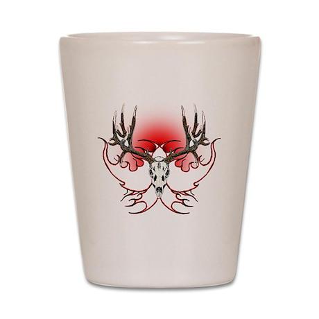 Mule deer,skull flames Shot Glass