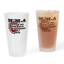 MMA teeshirt: touch me, first lesso Drinking Glass
