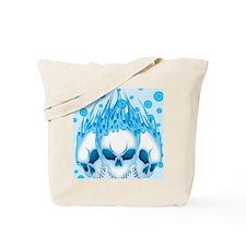 Blue Flaming Skulls IPAD Tote Bag