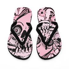 Pink Tattoo Skull IPAD Flip Flops