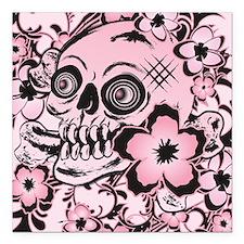 """Pink Tattoo Skull IPAD Square Car Magnet 3"""" x 3"""""""