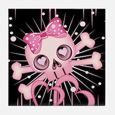 Pink Neon Skull IPAD Tile Coaster