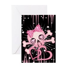Pink Neon Skull IPAD Greeting Card