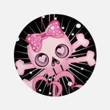 "Pink Neon Skull IPAD 3.5"" Button"