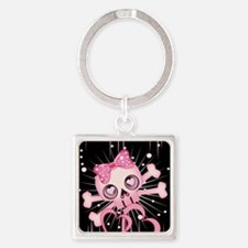 Pink Neon Skull IPAD Square Keychain