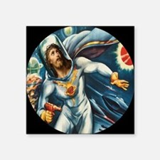 "Spaceman Jesus Large Square Sticker 3"" x 3"""