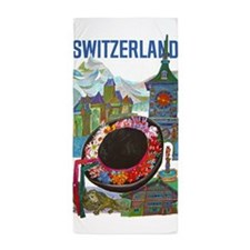 Vintage Switzerland Travel Beach Towel