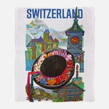 Vintage Switzerland Travel Throw Blanket