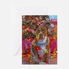 pitbull christmas card Greeting Card